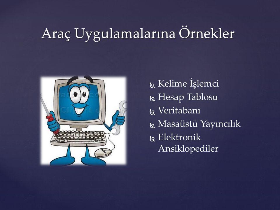 Araç Uygulamalarına Örnekler  Kelime İşlemci  Hesap Tablosu  Veritabanı  Masaüstü Yayıncılık  Elektronik Ansiklopediler