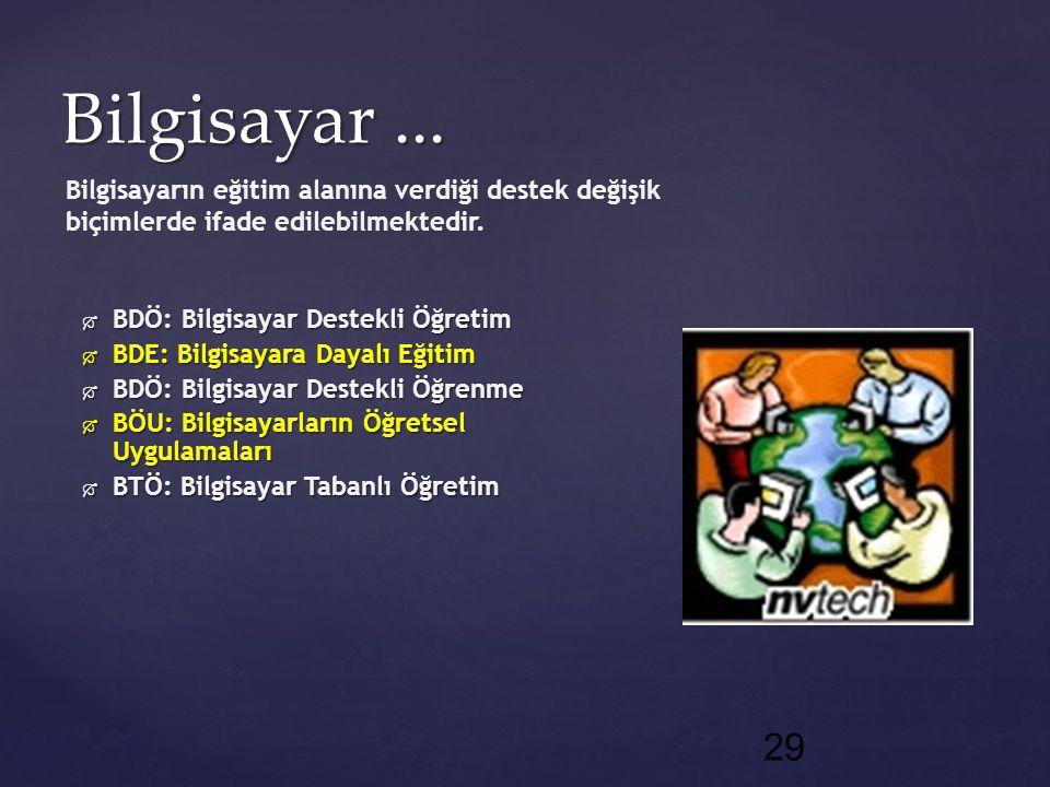 29 Bilgisayar...  BDÖ: Bilgisayar Destekli Öğretim  BDE: Bilgisayara Dayalı Eğitim  BDÖ: Bilgisayar Destekli Öğrenme  BÖU: Bilgisayarların Öğretse