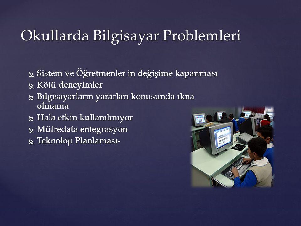 Okullarda Bilgisayar Problemleri  Sistem ve Öğretmenler in değişime kapanması  Kötü deneyimler  Bilgisayarların yararları konusunda ikna olmama  H