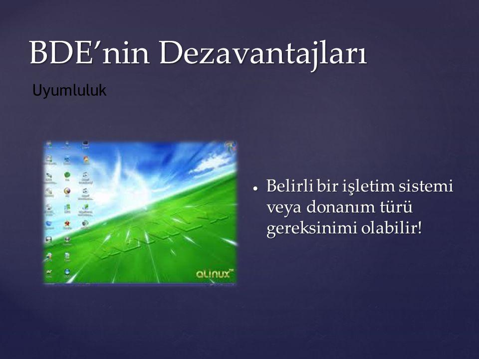 BDE'nin Dezavantajları  Belirli bir işletim sistemi veya donanım türü gereksinimi olabilir! Uyumluluk