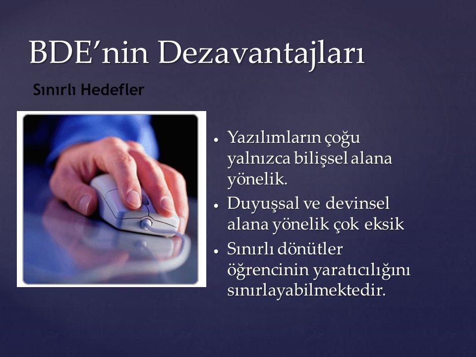 BDE'nin Dezavantajları  Yazılımların çoğu yalnızca bilişsel alana yönelik.  Duyuşsal ve devinsel alana yönelik çok eksik  Sınırlı dönütler öğrencin
