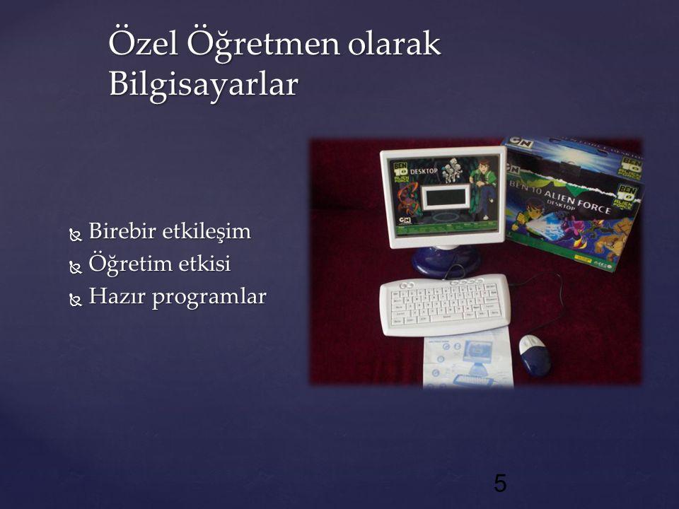 Bilgisayar Destekli EğitimÖğretimi Destekleyici AraçYönetim Uygulamaları Alıştırma Uygulama Bire-Bir Öğretim Benzeşim Öğretici Oyunlar Problem Çözme Ofis Otomasyonu Veri Tabanı Tablolaştırma Ofis Uygulamaları Çizim Programları Yazarlık Uygulamaları Eğitimde Bilgisayar Uygulamaları