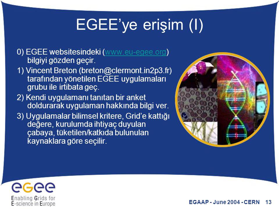 EGAAP - June 2004 - CERN 13 EGEE'ye erişim (I) 0) EGEE websitesindeki (www.eu-egee.org) bilgiyi gözden geçir.www.eu-egee.org 1) Vincent Breton (breton@clermont.in2p3.fr) tarafından yönetilen EGEE uygulamaları grubu ile irtibata geç.
