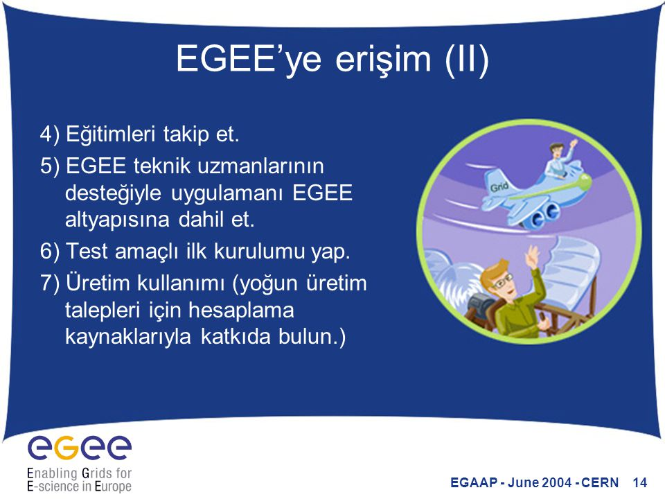 EGAAP - June 2004 - CERN 14 EGEE'ye erişim (II) 4) Eğitimleri takip et. 5) EGEE teknik uzmanlarının desteğiyle uygulamanı EGEE altyapısına dahil et. 6