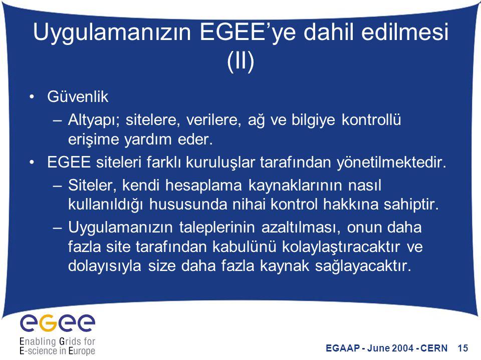 EGAAP - June 2004 - CERN 15 Uygulamanızın EGEE'ye dahil edilmesi (II) Güvenlik –Altyapı; sitelere, verilere, ağ ve bilgiye kontrollü erişime yardım ed
