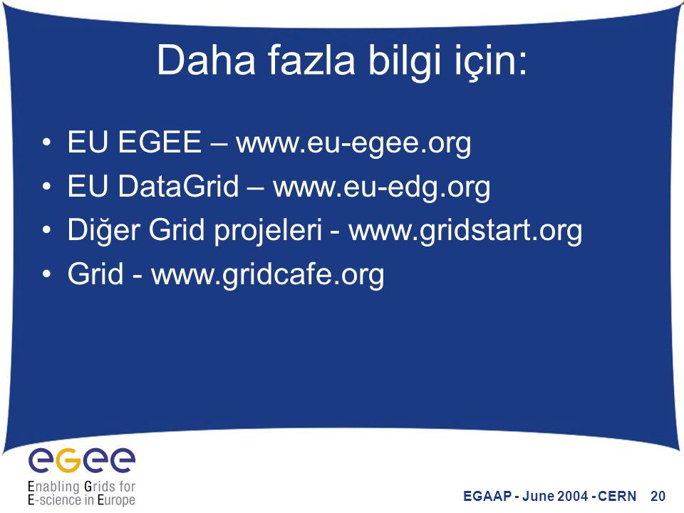 EGAAP - June 2004 - CERN 20 Daha fazla bilgi için: EU EGEE – www.eu-egee.org EU DataGrid – www.eu-edg.org Diğer Grid projeleri - www.gridstart.org Grid - www.gridcafe.org
