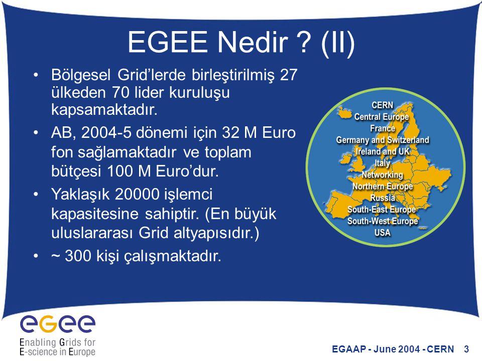 EGAAP - June 2004 - CERN 3 EGEE Nedir ? (II) Bölgesel Grid'lerde birleştirilmiş 27 ülkeden 70 lider kuruluşu kapsamaktadır. AB, 2004-5 dönemi için 32