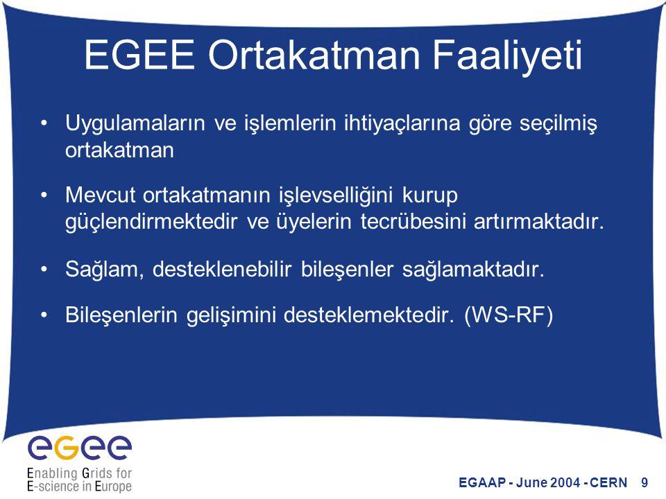 EGAAP - June 2004 - CERN 10 EGEE Ortakatman Yapılandırması Bu faaliyet birkaç ana merkezde yoğunlaştırılmıştır ve Yazılım kümelerinde düzenlenmektedir.