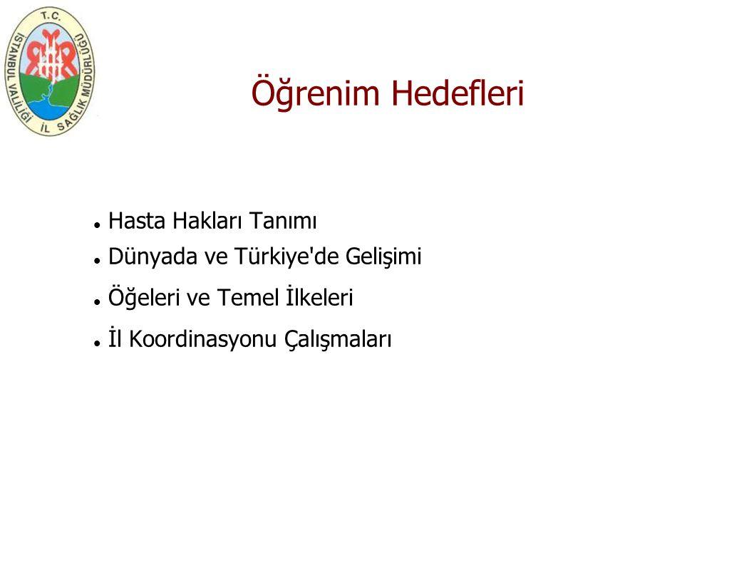 Öğrenim Hedefleri Hasta Hakları Tanımı Dünyada ve Türkiye'de Gelişimi Öğeleri ve Temel İlkeleri İl Koordinasyonu Çalışmaları
