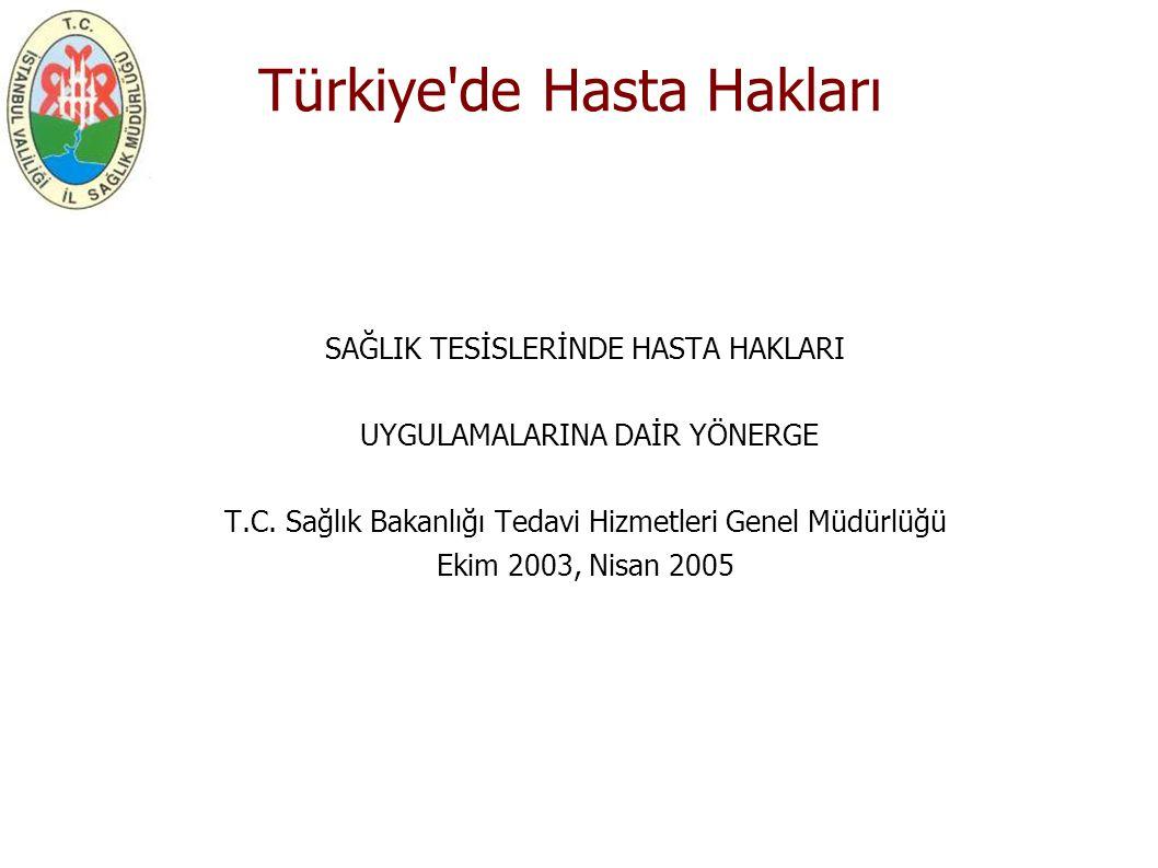 Türkiye'de Hasta Hakları SAĞLIK TESİSLERİNDE HASTA HAKLARI UYGULAMALARINA DAİR YÖNERGE T.C. Sağlık Bakanlığı Tedavi Hizmetleri Genel Müdürlüğü Ekim 20
