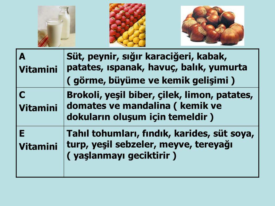 A Vitamini Süt, peynir, sığır karaciğeri, kabak, patates, ıspanak, havuç, balık, yumurta ( görme, büyüme ve kemik gelişimi ) C Vitamini Brokoli, yeşil