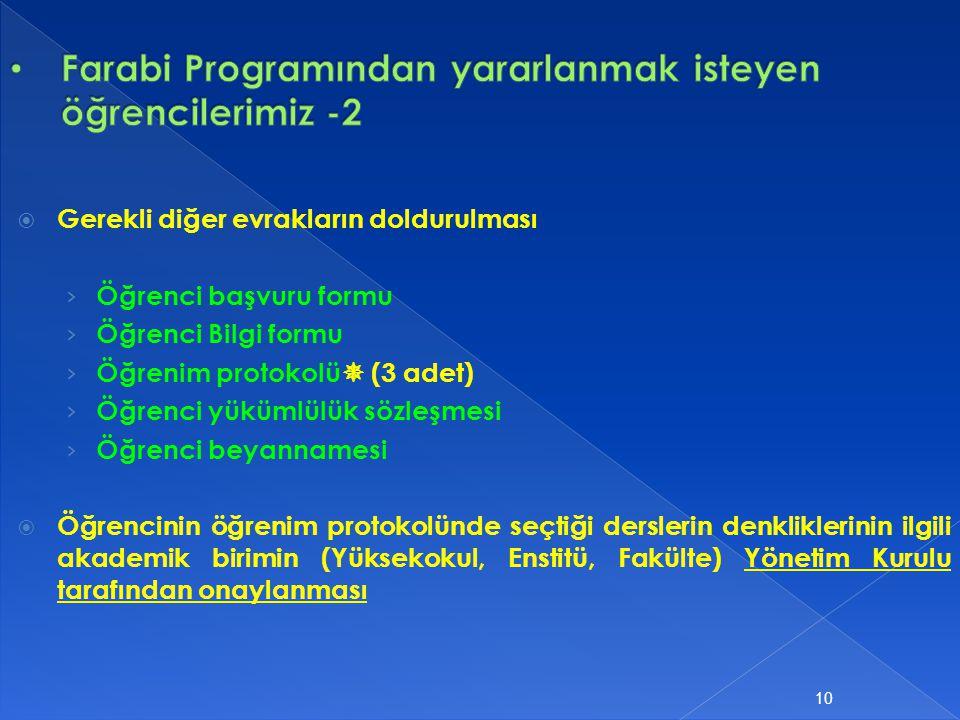  Gerekli diğer evrakların doldurulması › Öğrenci başvuru formu › Öğrenci Bilgi formu › Öğrenim protokolü  (3 adet) › Öğrenci yükümlülük sözleşmesi ›
