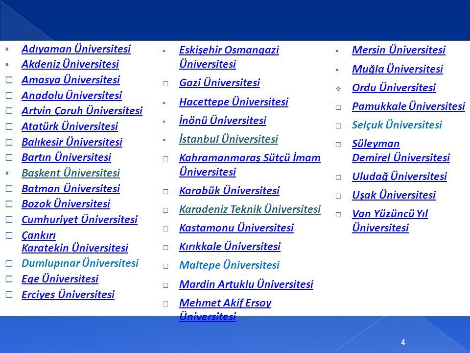  Adıyaman Üniversitesi Adıyaman Üniversitesi  Akdeniz Üniversitesi Akdeniz Üniversitesi  Amasya Üniversitesi Amasya Üniversitesi  Anadolu Üniversi