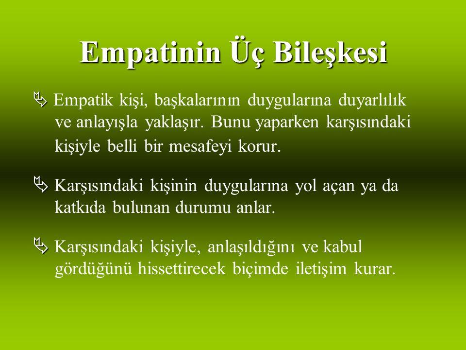 Empatinin Üç Bileşkesi   Empatik kişi, başkalarının duygularına duyarlılık ve anlayışla yaklaşır.