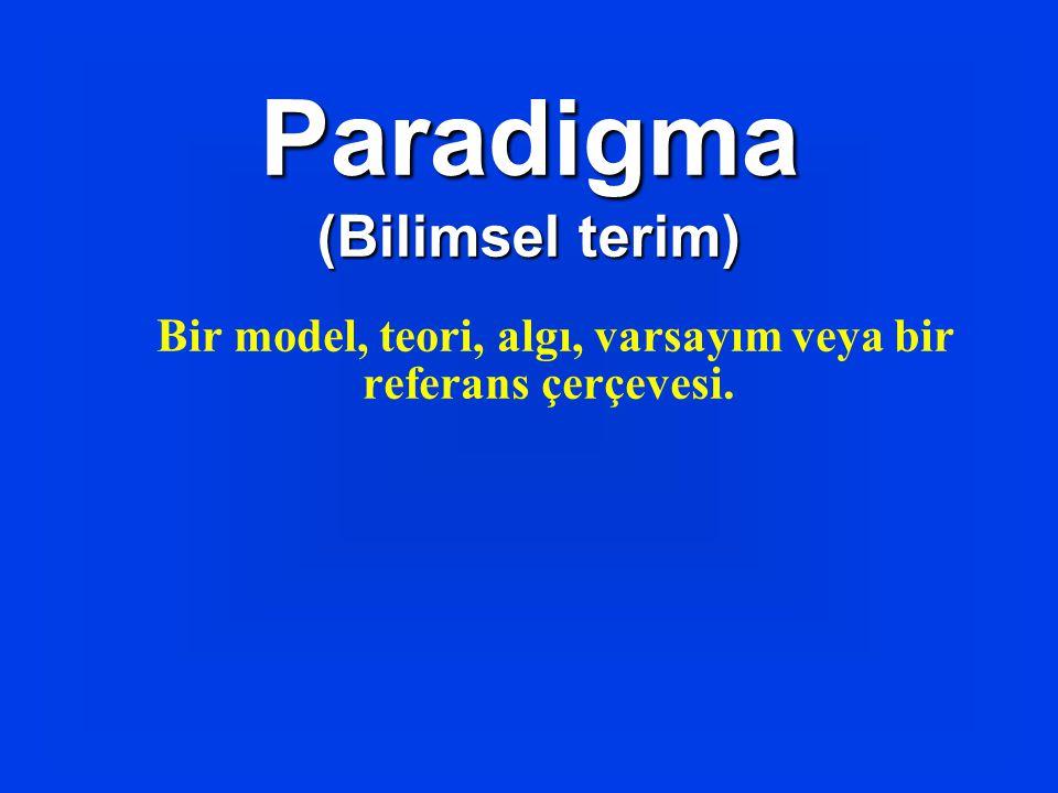 Bir model, teori, algı, varsayım veya bir referans çerçevesi. Paradigma (Bilimsel terim)