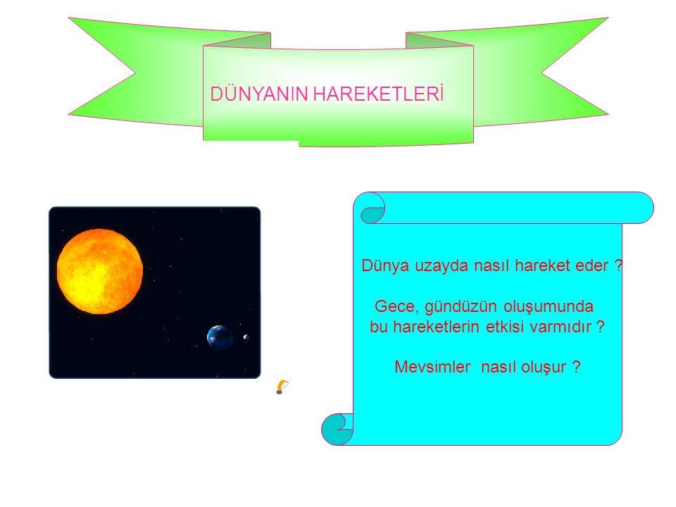 DÜNYANIN HAREKETLERİ Dünya uzayda nasıl hareket eder ? Gece, gündüzün oluşumunda bu hareketlerin etkisi varmıdır ? Mevsimler nasıl oluşur ?
