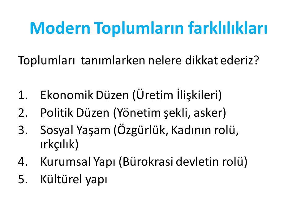 Modern Toplumların farklılıkları Toplumları tanımlarken nelere dikkat ederiz? 1.Ekonomik Düzen (Üretim İlişkileri) 2.Politik Düzen (Yönetim şekli, ask