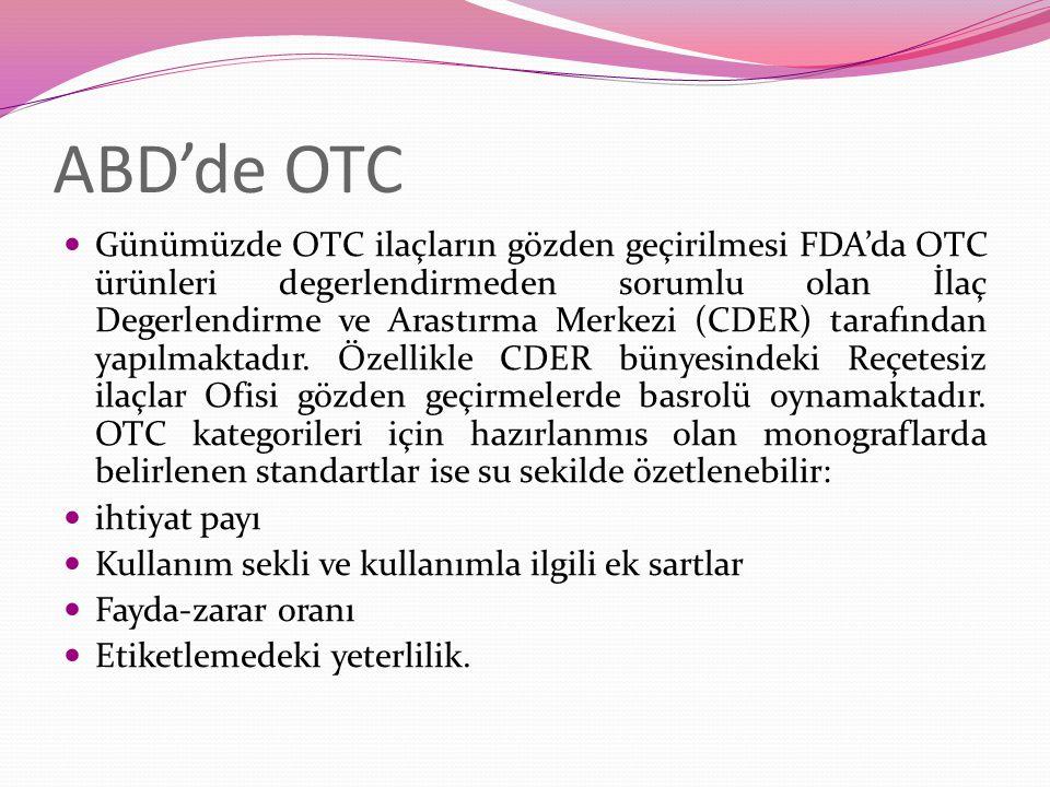 Günümüzde OTC ilaçların gözden geçirilmesi FDA'da OTC ürünleri degerlendirmeden sorumlu olan İlaç Degerlendirme ve Arastırma Merkezi (CDER) tarafından yapılmaktadır.