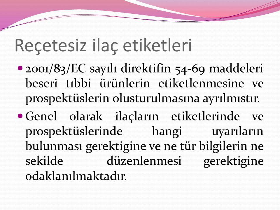 Reçetesiz ilaç etiketleri 2001/83/EC sayılı direktifin 54-69 maddeleri beseri tıbbi ürünlerin etiketlenmesine ve prospektüslerin olusturulmasına ayrılmıstır.