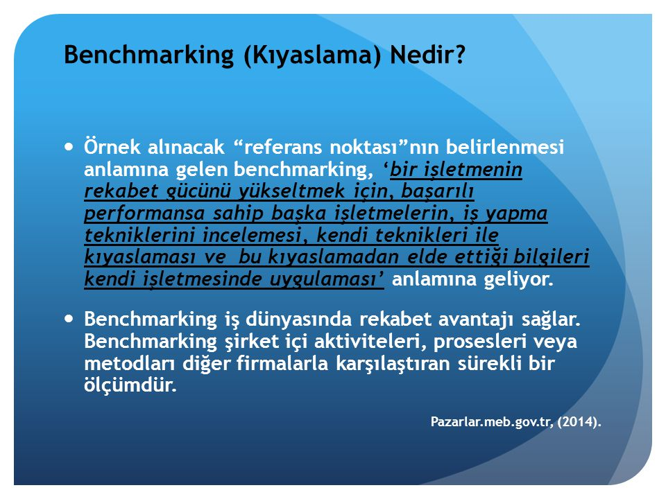 """Benchmarking (Kıyaslama) Nedir? Örnek alınacak """"referans noktası""""nın belirlenmesi anlamına gelen benchmarking, 'bir işletmenin rekabet gücünü yükseltm"""