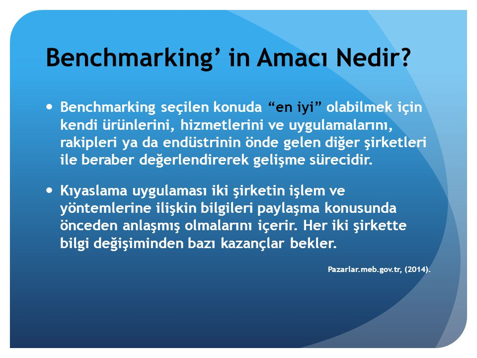 """Benchmarking' in Amacı Nedir? Benchmarking seçilen konuda """"en iyi"""" olabilmek için kendi ürünlerini, hizmetlerini ve uygulamalarını, rakipleri ya da en"""
