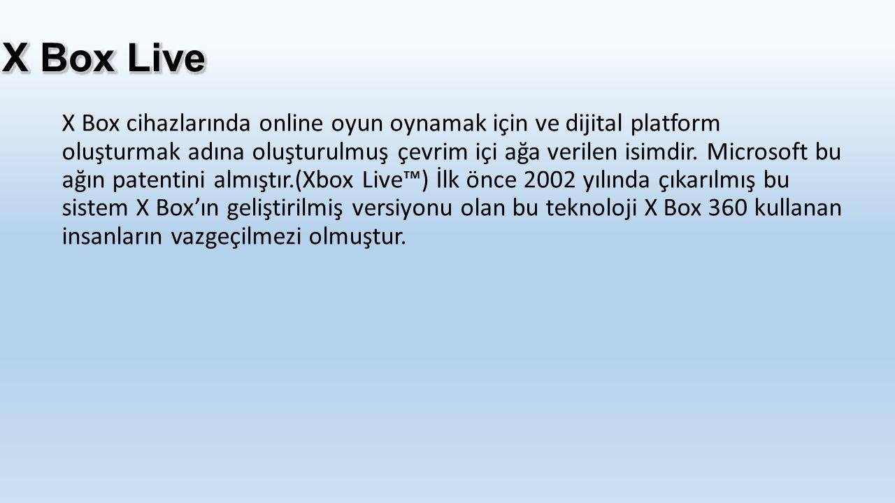 X Box cihazlarında online oyun oynamak için ve dijital platform oluşturmak adına oluşturulmuş çevrim içi ağa verilen isimdir. Microsoft bu ağın patent