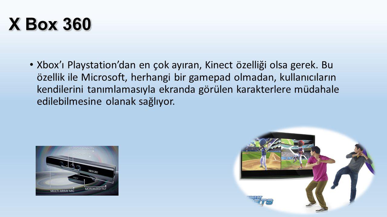 Xbox'ı Playstation'dan en çok ayıran, Kinect özelliği olsa gerek. Bu özellik ile Microsoft, herhangi bir gamepad olmadan, kullanıcıların kendilerini t