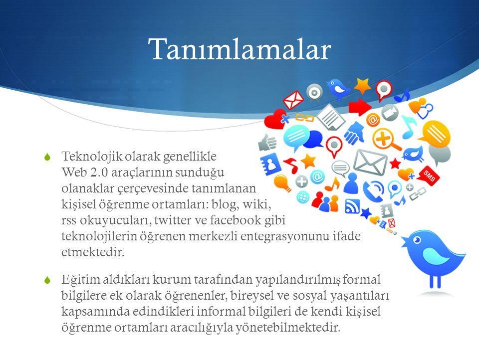 Tanımlamalar  Teknolojik olarak genellikle Web 2.0 araçlarının sundu ğ u olanaklar çerçevesinde tanımlanan ki ş isel ö ğ renme ortamları: blog, wiki, rss okuyucuları, twitter ve facebook gibi teknolojilerin ö ğ renen merkezli entegrasyonunu ifade etmektedir.