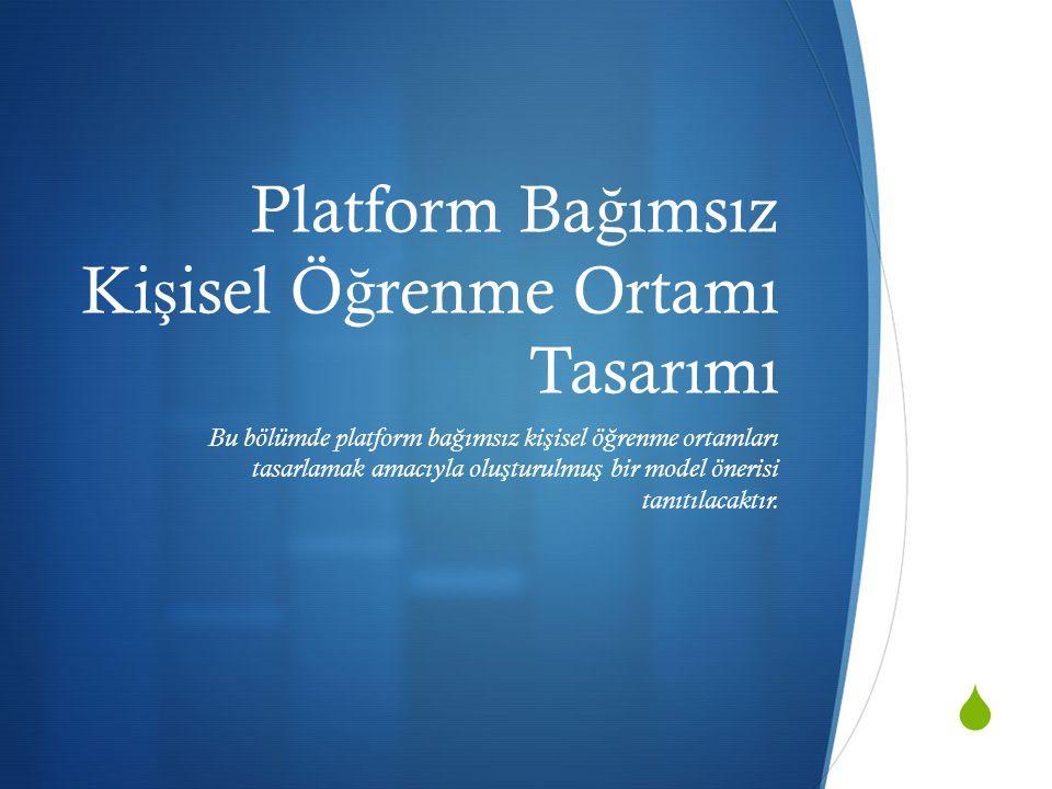  Platform Ba ğ ımsız Ki ş isel Ö ğ renme Ortamı Tasarımı Bu bölümde platform ba ğ ımsız ki ş isel ö ğ renme ortamları tasarlamak amacıyla olu ş turulmu ş bir model önerisi tanıtılacaktır.