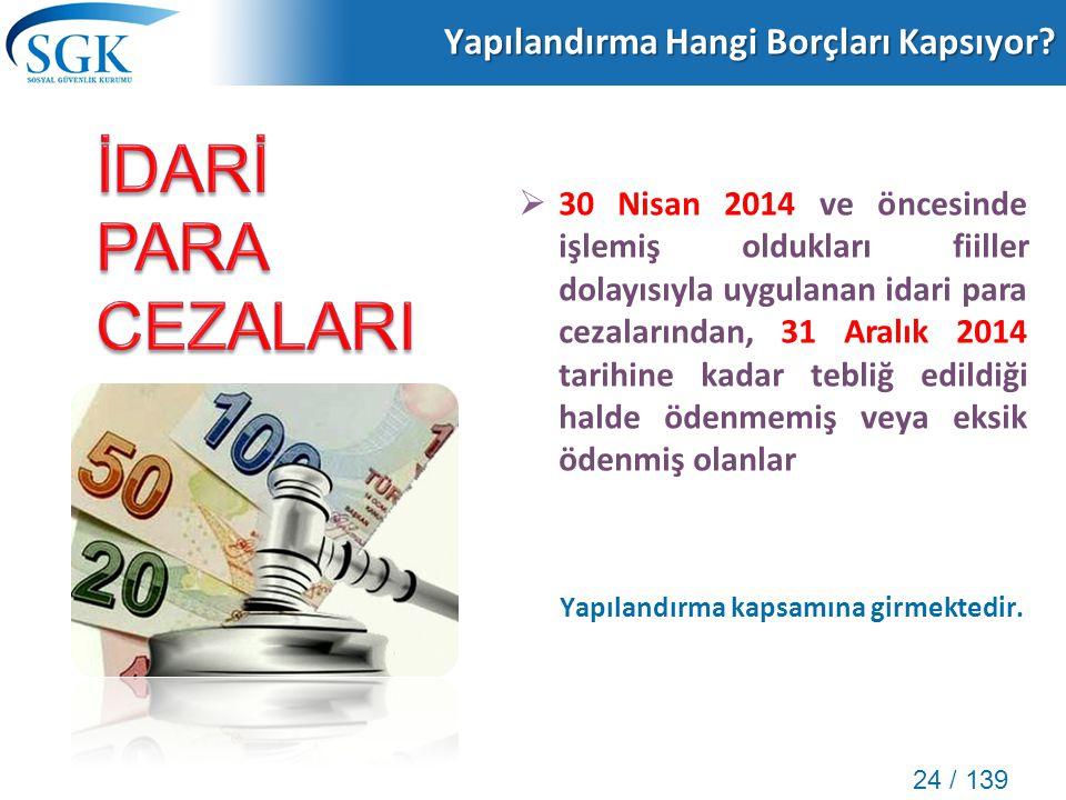 24 / 139 Yapılandırma Hangi Borçları Kapsıyor?  30 Nisan 2014 ve öncesinde işlemiş oldukları fiiller dolayısıyla uygulanan idari para cezalarından, 3