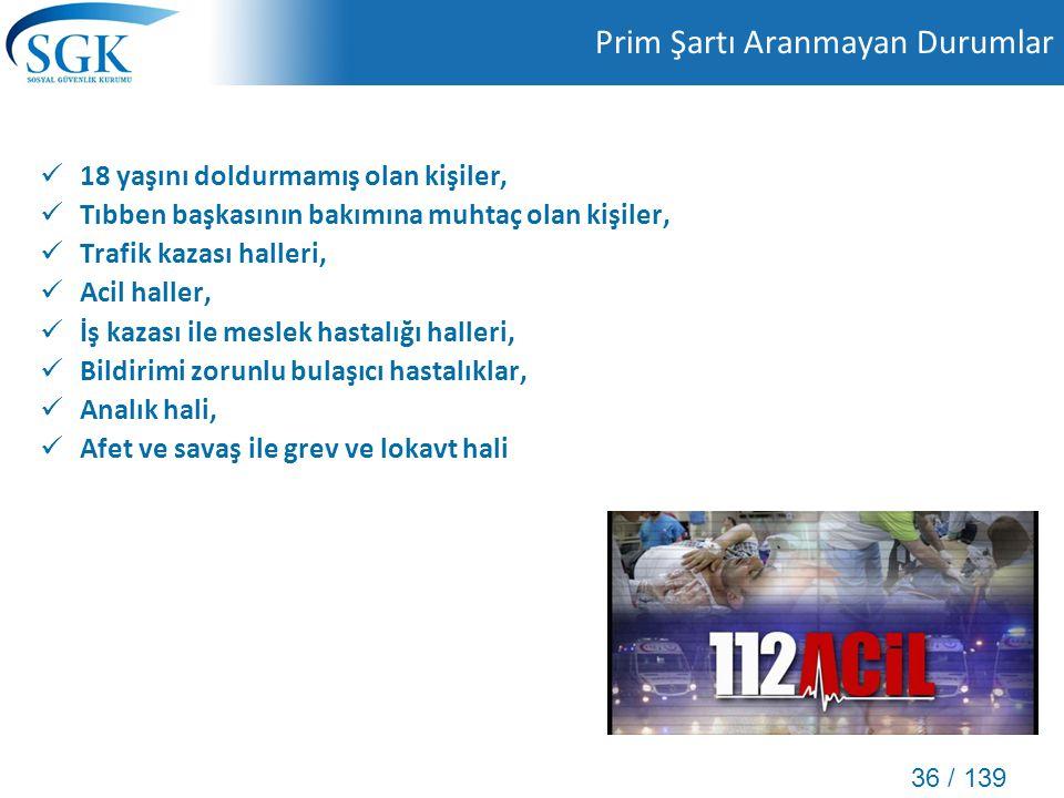 36 / 139 Prim Şartı Aranmayan Durumlar 18 yaşını doldurmamış olan kişiler, Tıbben başkasının bakımına muhtaç olan kişiler, Trafik kazası halleri, Acil