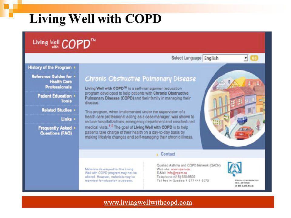 Hastalığa Özel KKT Eğitim Programı; KOAH'la Barışık Yaşam Living Well with COPD (Kanada) Haftada 1 saat, 7-8 hafta Program 4 merkezde hemşireler, 2 merkezde solunum terapistleri, 1 merkezde fizyoterapist tarafından uygulanmış.