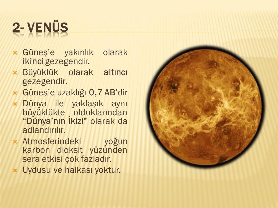  Güneş'e yakınlık olarak ikinci gezegendir.  Büyüklük olarak altıncı gezegendir.  Güneş'e uzaklığı 0,7 AB'dir  Dünya ile yaklaşık aynı büyüklükte