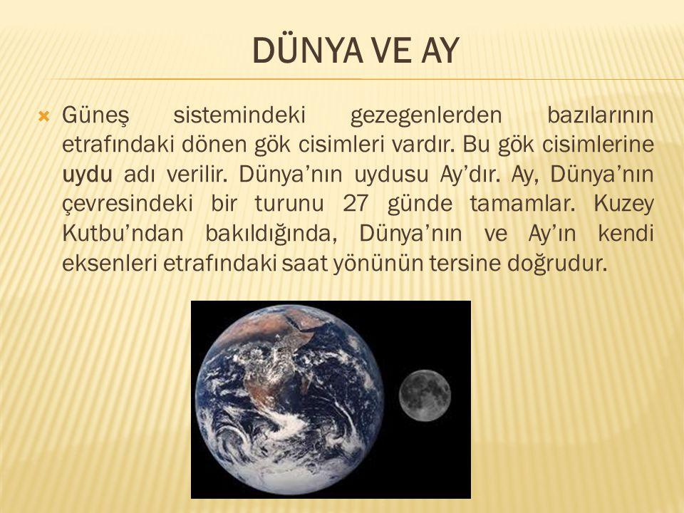  Güneş sistemindeki gezegenlerden bazılarının etrafındaki dönen gök cisimleri vardır. Bu gök cisimlerine uydu adı verilir. Dünya'nın uydusu Ay'dır. A