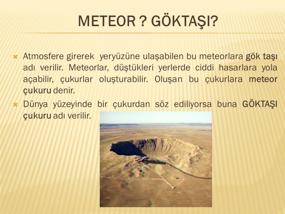  Atmosfere girerek yeryüzüne ulaşabilen bu meteorlara gök taşı adı verilir. Meteorlar, düştükleri yerlerde ciddi hasarlara yola açabilir, çukurlar ol