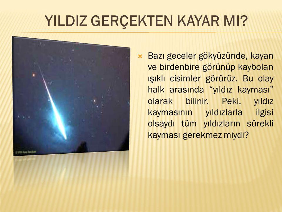 """ Bazı geceler gökyüzünde, kayan ve birdenbire görünüp kaybolan ışıklı cisimler görürüz. Bu olay halk arasında """"yıldız kayması"""" olarak bilinir. Peki,"""