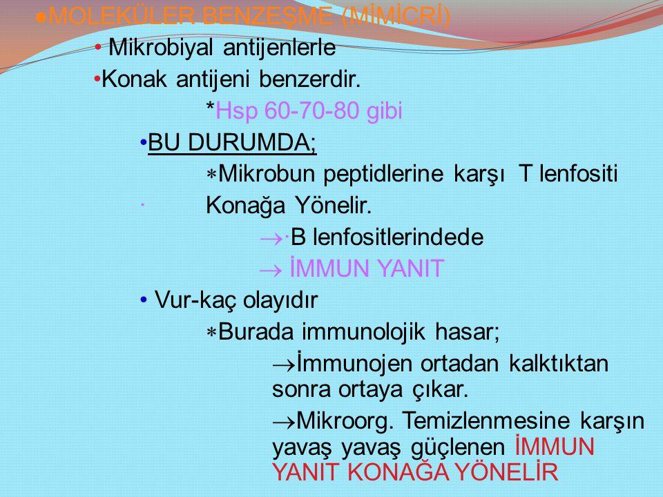 ●MOLEKÜLER BENZEŞME (MİMİCRİ) Mikrobiyal antijenlerle Konak antijeni benzerdir.