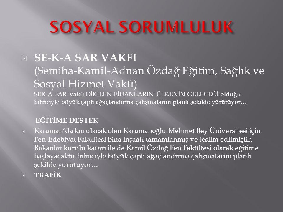  SE-K-A SAR VAKFI (Semiha-Kamil-Adnan Özdağ Eğitim, Sağlık ve Sosyal Hizmet Vakfı) SEK-A-SAR Vakfı DİKİLEN FİDANLARIN ÜLKENİN GELECEĞİ olduğu bilinciyle büyük çaplı ağaçlandırma çalışmalarını planlı şekilde yürütüyor… EĞİTİME DESTEK  Karaman'da kurulacak olan Karamanoğlu Mehmet Bey Üniversitesi için Fen-Edebiyat Fakültesi bina inşaatı tamamlanmış ve teslim edilmiştir.