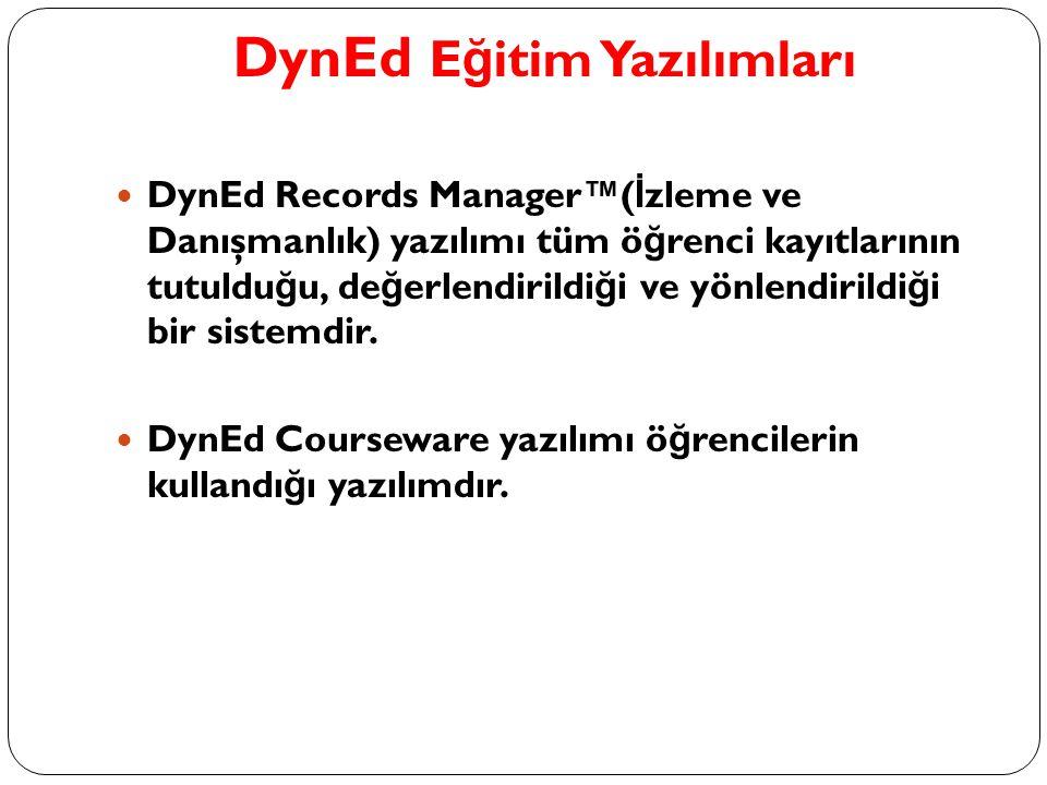 DynEd E ğ itim Yazılımları DynEd Records Manager™( İ zleme ve Danışmanlık) yazılımı tüm ö ğ renci kayıtlarının tutuldu ğ u, de ğ erlendirildi ğ i ve y