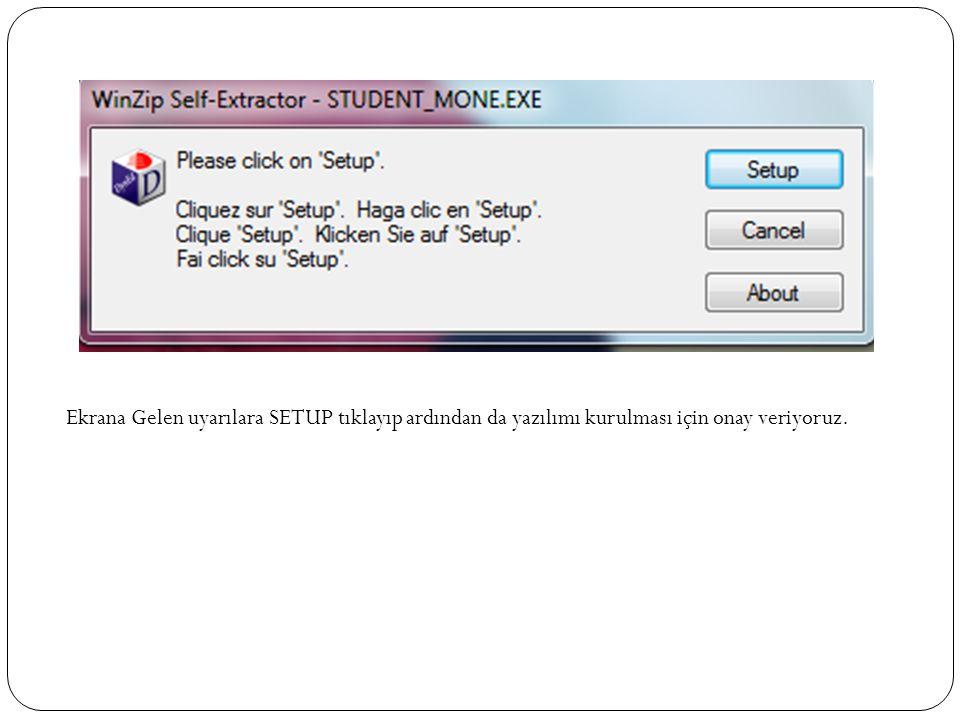 Ekrana Gelen uyarılara SETUP tıklayıp ardından da yazılımı kurulması için onay veriyoruz.