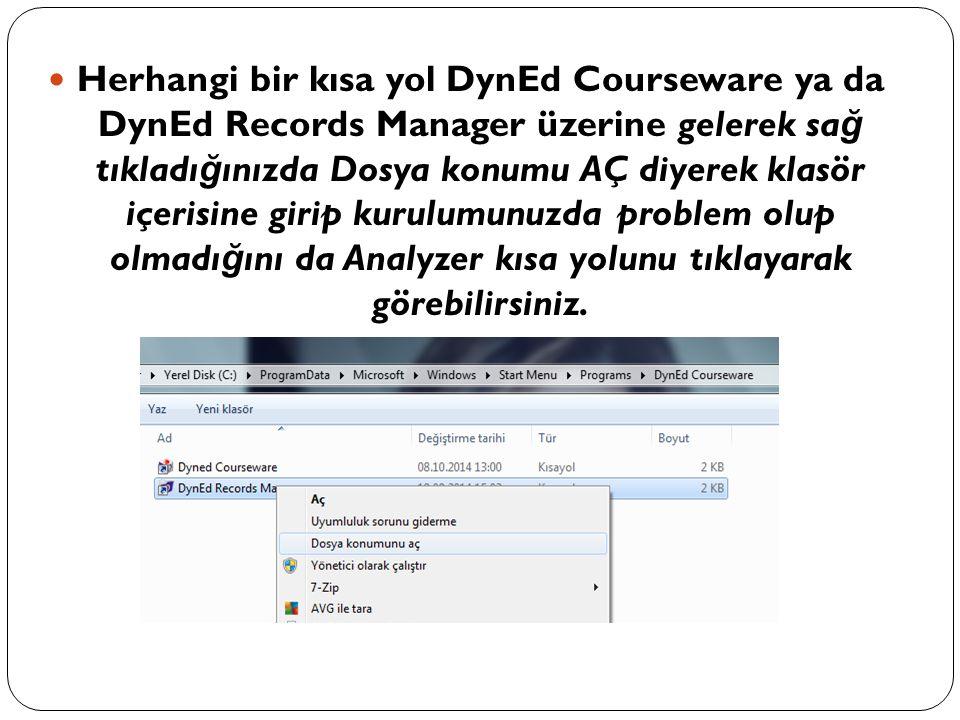 Herhangi bir kısa yol DynEd Courseware ya da DynEd Records Manager üzerine gelerek sa ğ tıkladı ğ ınızda Dosya konumu AÇ diyerek klasör içerisine giri
