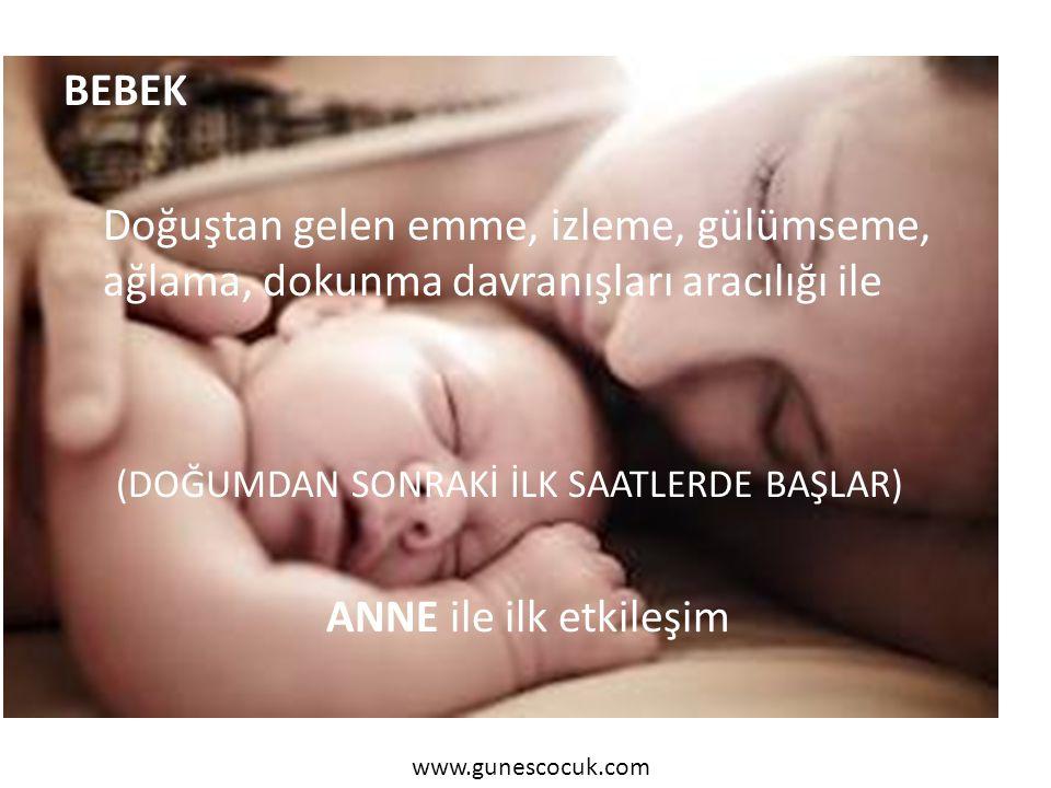 BEBEK Doğuştan gelen emme, izleme, gülümseme, ağlama, dokunma davranışları aracılığı ile (DOĞUMDAN SONRAKİ İLK SAATLERDE BAŞLAR) ANNE ile ilk etkileşi