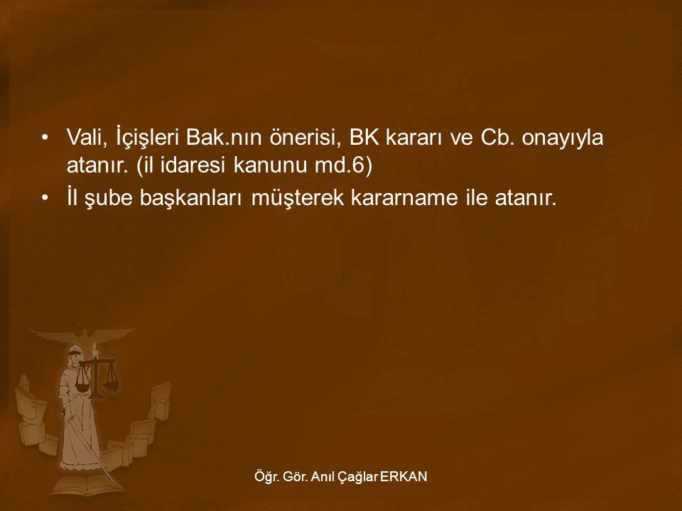 Vali, İçişleri Bak.nın önerisi, BK kararı ve Cb.onayıyla atanır.