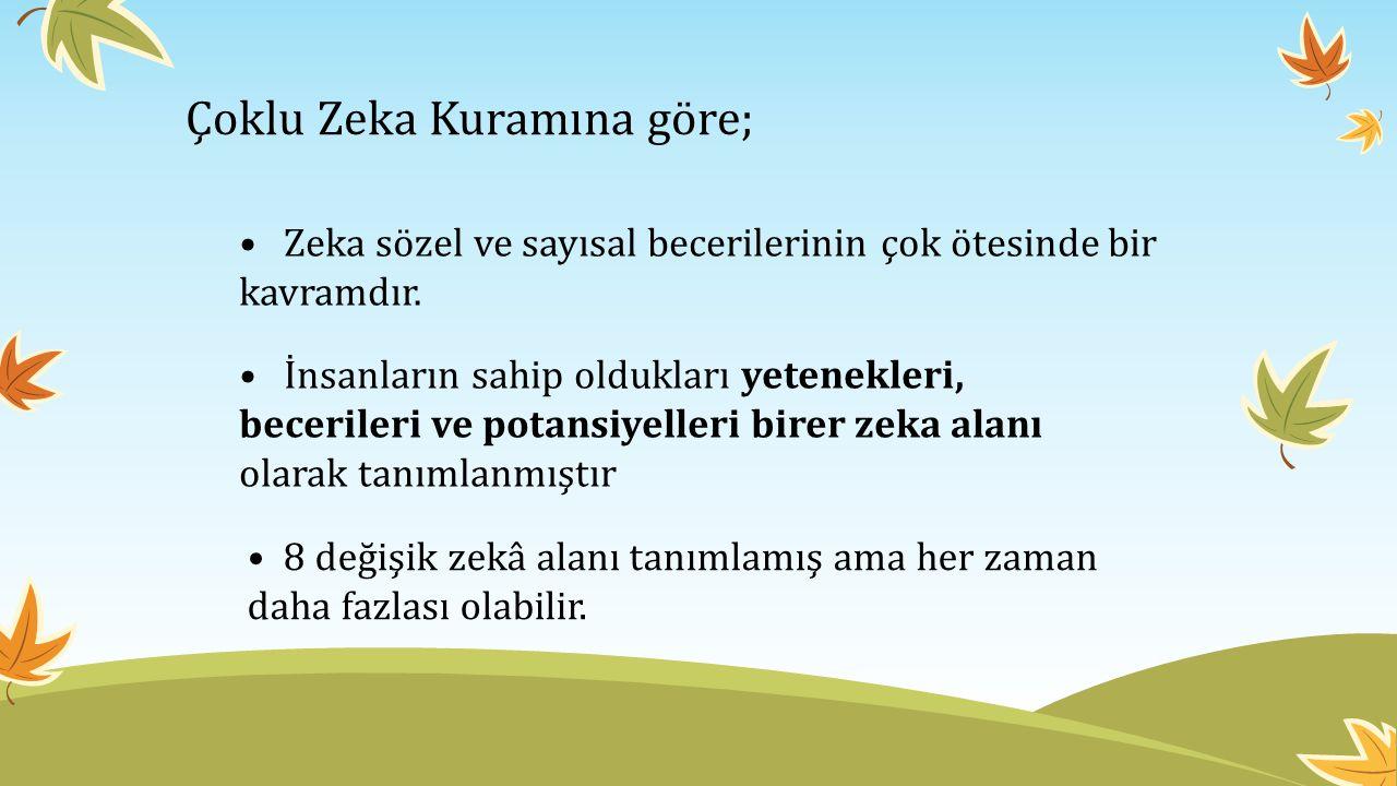 Çoklu Zeka Kuramına göre; Zeka sözel ve sayısal becerilerinin çok ötesinde bir kavramdır.