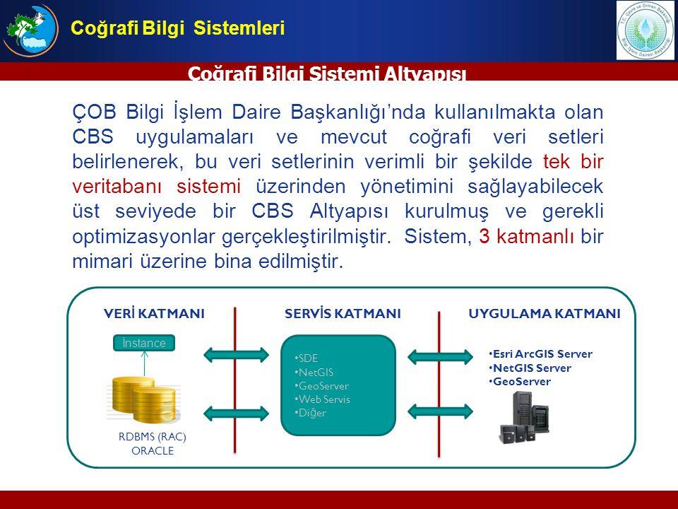 Coğrafi Bilgi Sistemi Altyapısı ÇOB Bilgi İşlem Daire Başkanlığı'nda kullanılmakta olan CBS uygulamaları ve mevcut coğrafi veri setleri belirlenerek,