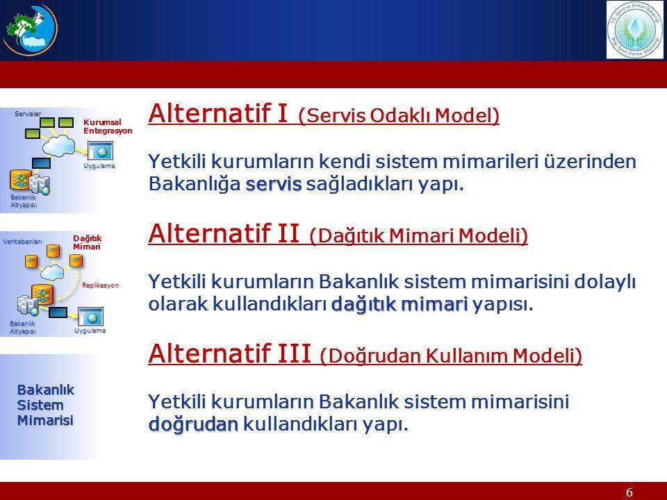 6 Alternatif I (Servis Odaklı Model) servis Yetkili kurumların kendi sistem mimarileri üzerinden Bakanlığa servis sağladıkları yapı. Alternatif II (Da