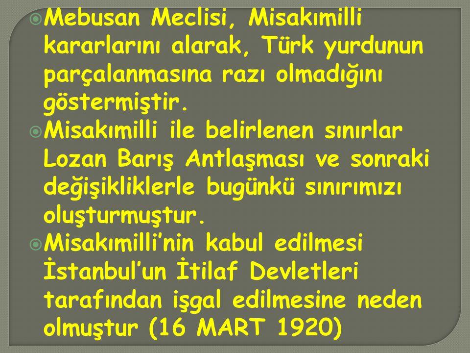 Mebusan Meclisi, Misakımilli kararlarını alarak, Türk yurdunun parçalanmasına razı olmadığını göstermiştir.  Misakımilli ile belirlenen sınırlar Lo