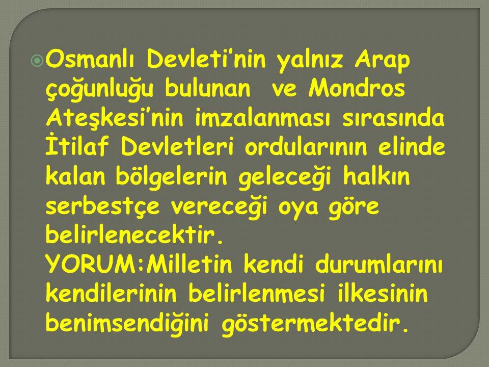 Kendi istekleriyle anavatana katılmış olan Kars, Ardahan, Batum'da gerekirse yeniden halk oyuna başvurulacaktır.