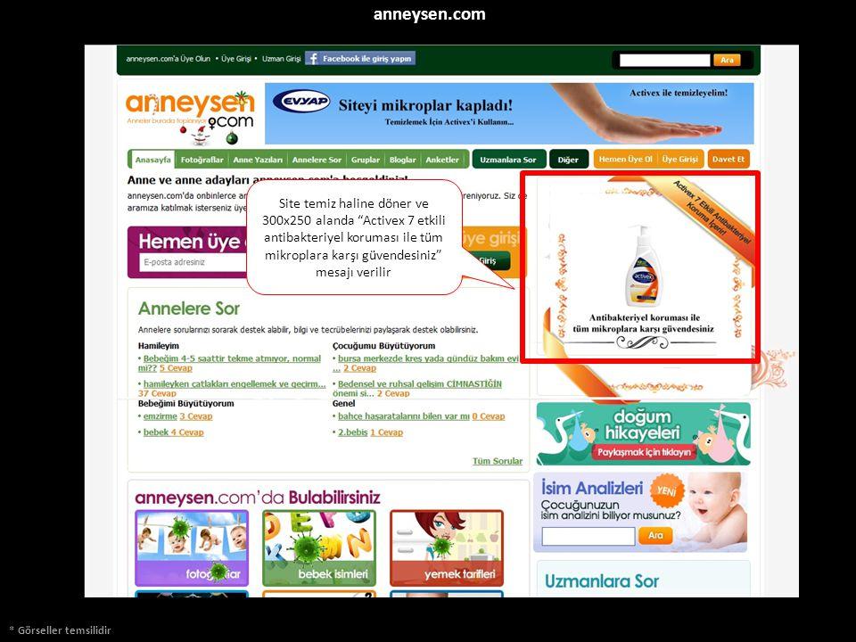 """* Görseller temsilidir anneysen.com Site temiz haline döner ve 300x250 alanda """"Activex 7 etkili antibakteriyel koruması ile tüm mikroplara karşı güven"""