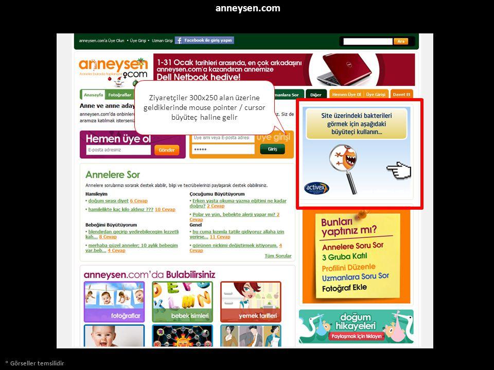 anneysen.com * Görseller temsilidir Ziyaretçiler 300x250 alan üzerine geldiklerinde mouse pointer / cursor büyüteç haline gelir